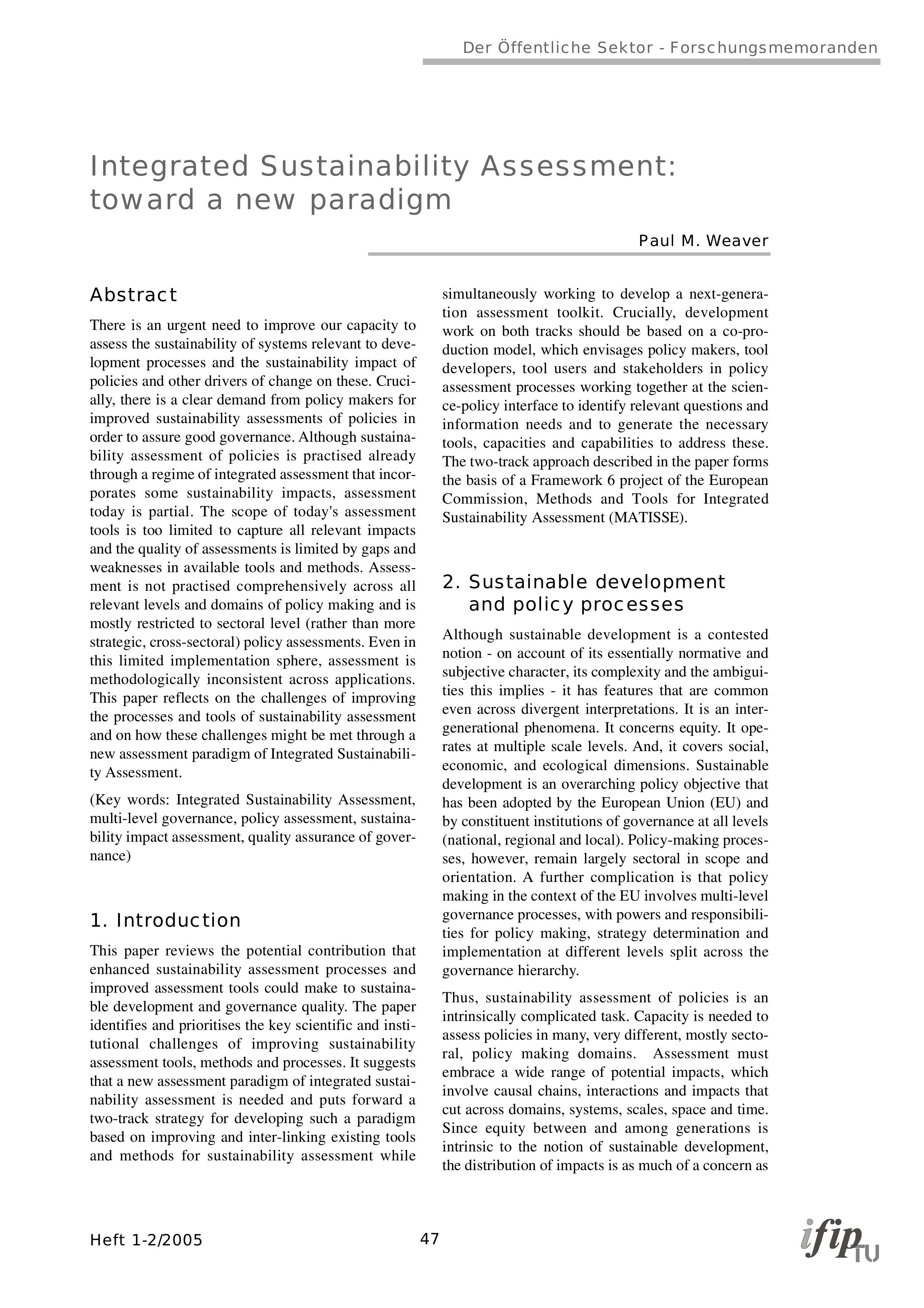 Integrated Sustainability Assessment: toward a new paradigm